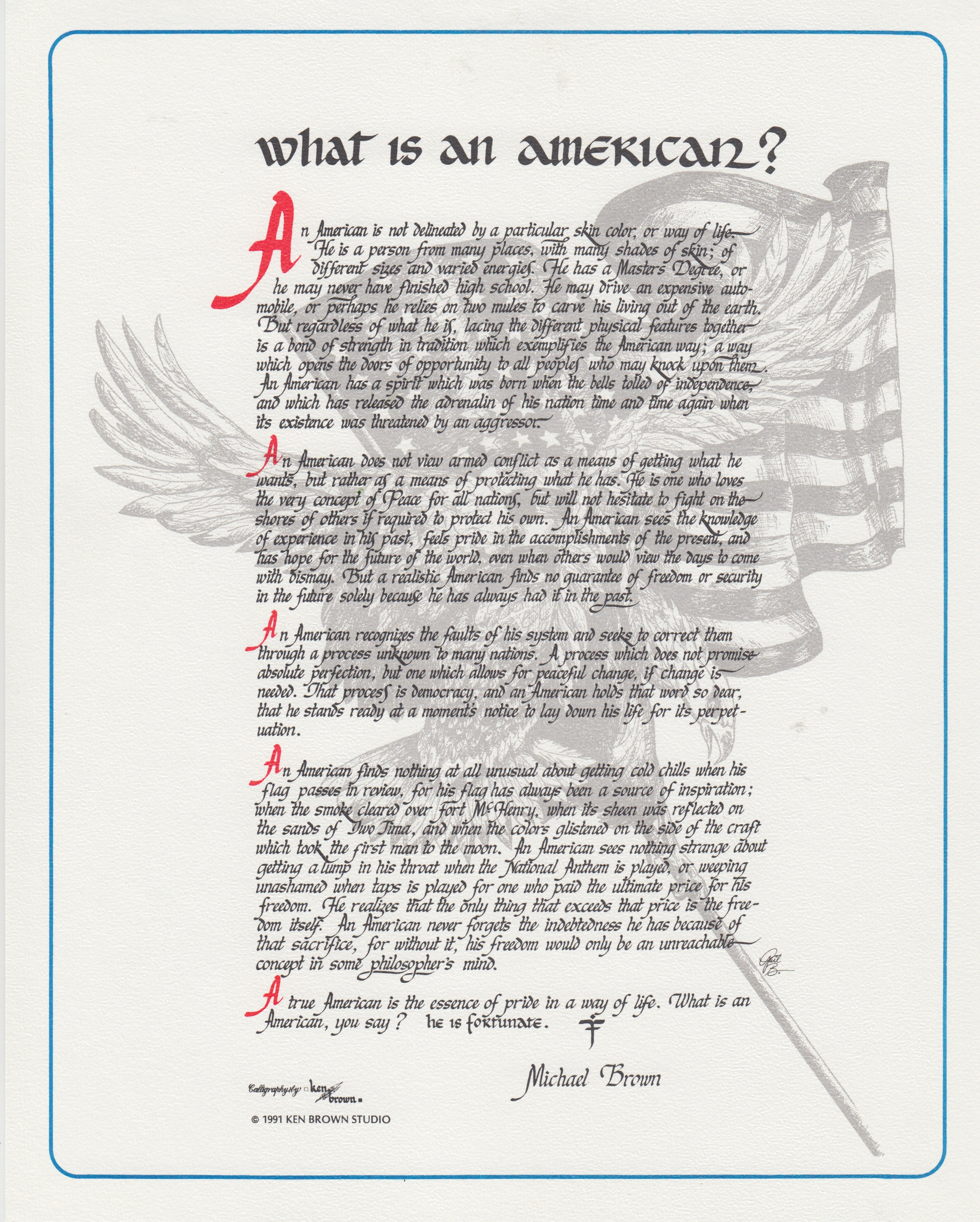 Ken Brown Calligraphy Shares What Is An American