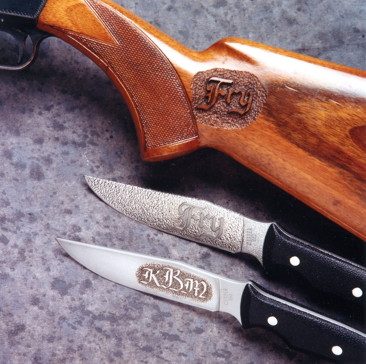 Ken Brown Engraving Dresses Up Two Knives And A Gun